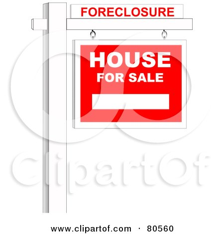 Royalty-Free (RF) Clipart Illustration of a Foreclosure Sign Over A House For Sale Sign On A Post by tdoes
