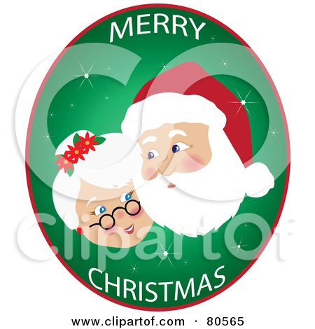 Royalty-Free (RF) Clipart Illustration of a Merry Christmas Oval Of Mr And Mrs Claus Cheek To Cheek by Pams Clipart