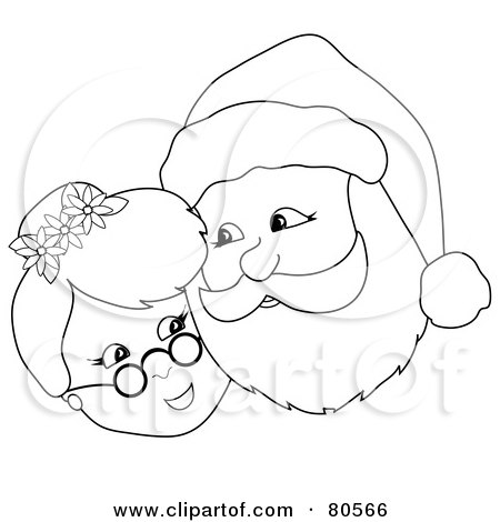 Royalty-Free (RF) Clipart Illustration of a Black And White Outline Of Mr And Mrs Claus Cheek To Cheek by Pams Clipart