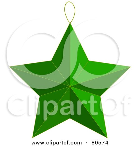 Royalty-Free (RF) Clipart Illustration of a Green Christmas Tree Star Ornament by Pams Clipart