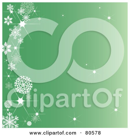 Royalty-Free (RF) Clipart Illustration of a Sparkly Green Background With A Left Snowflake Border by Pams Clipart