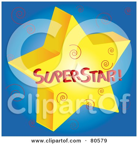 Royalty-Free (RF) Clipart Illustration of a Gold Superstar With Swirls On Blue by Pams Clipart