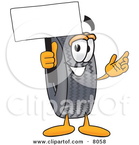 Clipart Picture of a Rubber Tire Mascot Cartoon Character Holding a Blank Sign by Toons4Biz