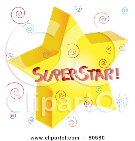 Royalty-Free (RF) Clipart Illustration of a Golden Superstar With Colorful Swirls by Pams Clipart
