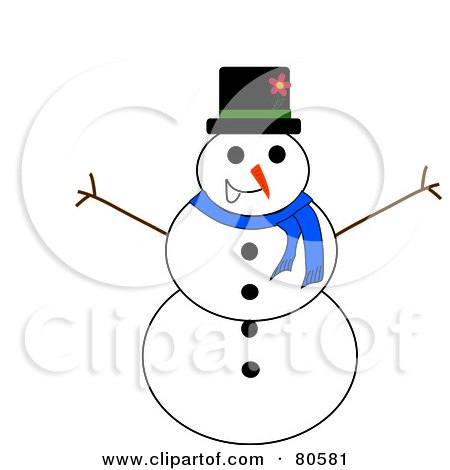 Royalty-Free (RF) Clipart Illustration of a Jolly Christmas Snowman With Twig Arms by Pams Clipart