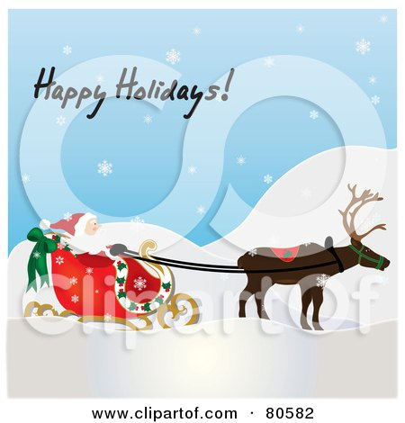 Royalty-Free (RF) Clipart Illustration of Happy Holidays Text Over A Single Reindeer Pulling Santa's Sleigh On A Snowy Day by Pams Clipart