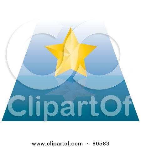 Royalty-Free (RF) Clipart Illustration of a Golden Star On A Reflective Blue Path by Pams Clipart