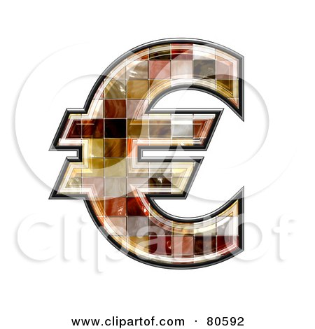 Royalty-Free (RF) Clipart Illustration of a Ceramic Tile Symbol; Euro by chrisroll