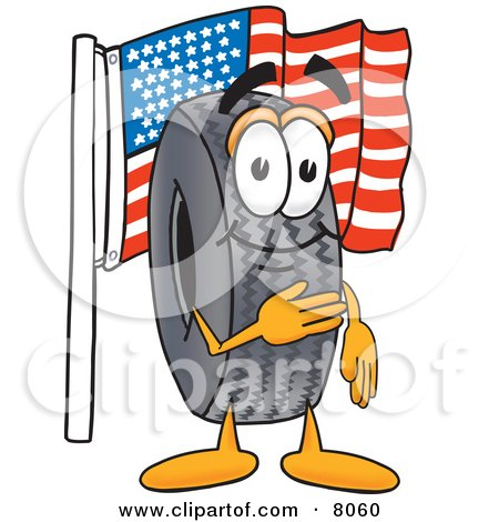 Clipart Picture of a Rubber Tire Mascot Cartoon Character Pledging Allegiance to an American Flag by Toons4Biz
