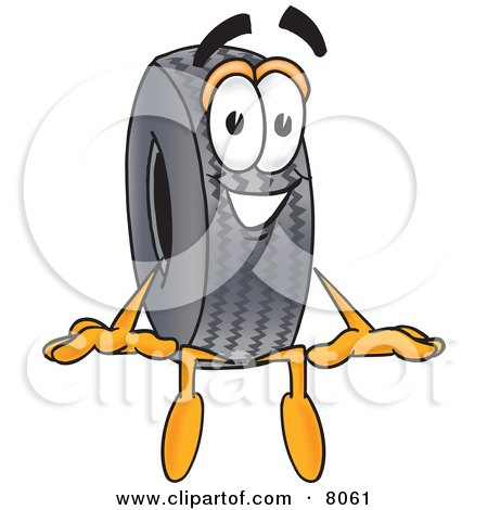 Clipart Picture of a Rubber Tire Mascot Cartoon Character Sitting by Toons4Biz