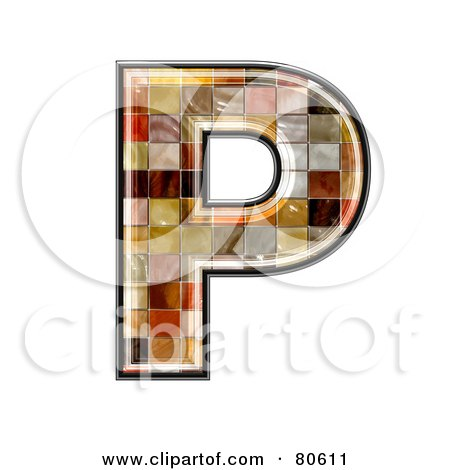 Royalty-Free (RF) Clipart Illustration of a Ceramic Tile Symbol; Capitol Letter P by chrisroll