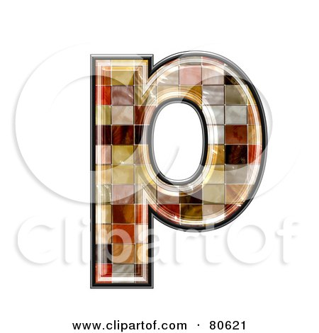Royalty-Free (RF) Clipart Illustration of a Ceramic Tile Symbol; Lowercase Letter p by chrisroll
