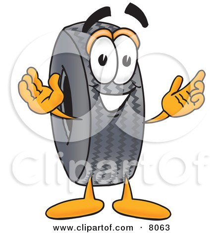 Clipart Picture of a Rubber Tire Mascot Cartoon Character With Welcoming Open Arms by Toons4Biz