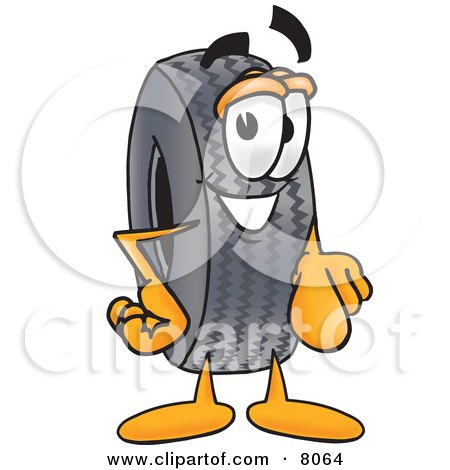 Clipart Picture of a Rubber Tire Mascot Cartoon Character Pointing at the Viewer by Toons4Biz
