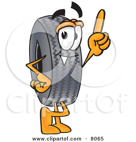 Clipart Picture of a Rubber Tire Mascot Cartoon Character Pointing Upwards by Toons4Biz