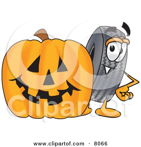 Clipart Picture of a Rubber Tire Mascot Cartoon Character With a Carved Halloween Pumpkin by Toons4Biz