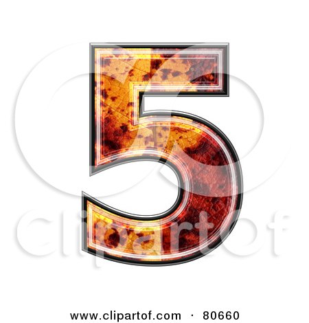 Royalty-Free (RF) Clipart Illustration of an Autumn Leaf Texture Symbol; Number 5 by chrisroll