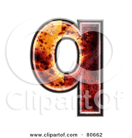 Royalty-Free (RF) Clipart Illustration of an Autumn Leaf Texture Symbol; Lowercase Letter q by chrisroll