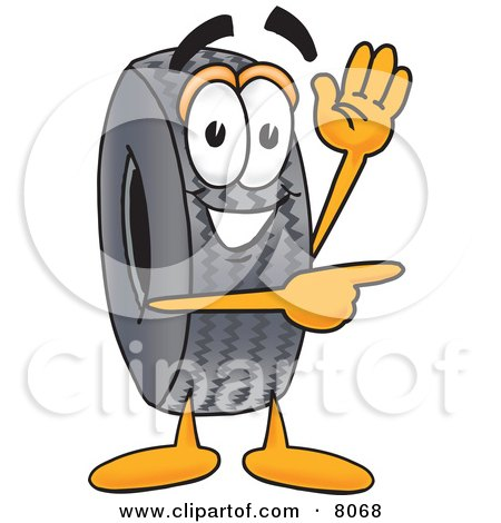 Clipart Picture of a Rubber Tire Mascot Cartoon Character Waving and Pointing by Toons4Biz