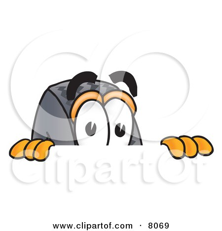 Clipart Picture of a Rubber Tire Mascot Cartoon Character Peeking Over a Surface by Toons4Biz