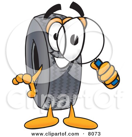 Clipart Picture of a Rubber Tire Mascot Cartoon Character Looking Through a Magnifying Glass by Toons4Biz