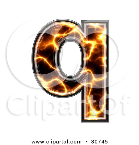 Royalty-Free (RF) Clipart Illustration of an Electric Symbol; Lowercase Letter Q by chrisroll