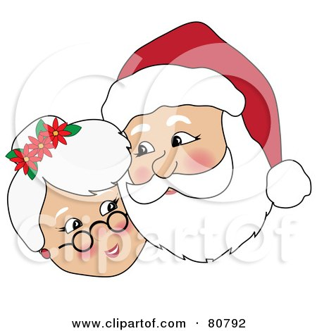 Royalty-Free (RF) Clipart Illustration of Mr And Mrs Claus Cuddling Cheek To Cheek by Pams Clipart