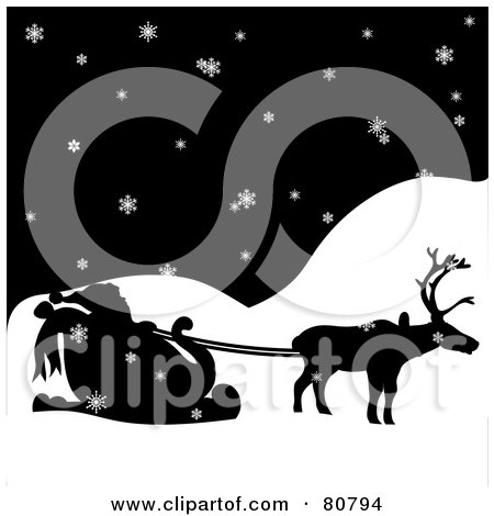 Royalty-Free (RF) Clip Art Illustration of a Silhouetted Single Reindeer Pulling Santa's Sleigh On A Snowy Night by Pams Clipart