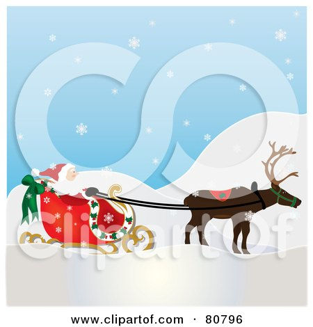Royalty-Free (RF) Clipart Illustration of a Single Reindeer Pulling Santa's Sleigh On A Snowy Day by Pams Clipart