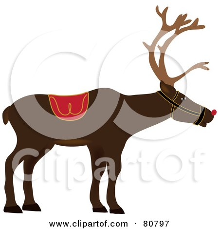 Royalty-Free (RF) Clipart Illustration of a Profiled Red Nosed Christmas Reindeer by Pams Clipart