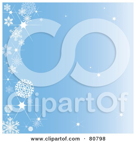 Royalty-Free (RF) Clipart Illustration of a Sparkly Blue Background With A Left Snowflake Border by Pams Clipart