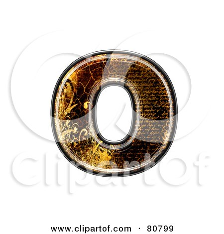 Royalty-Free (RF) Clipart Illustration of a Grunge Texture Symbol; Lowercase Letter o by chrisroll