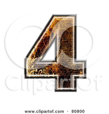 Royalty-Free (RF) Clipart Illustration of a Grunge Texture Symbol; Number 4 by chrisroll