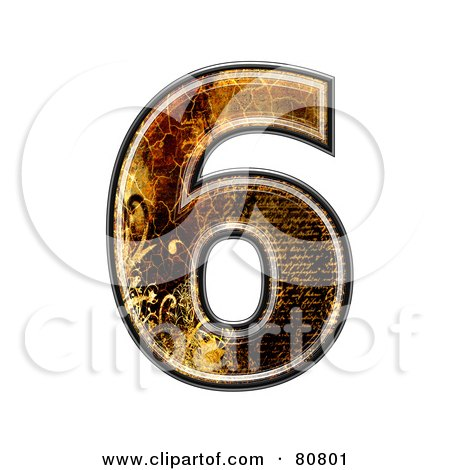 Royalty-Free (RF) Clipart Illustration of a Grunge Texture Symbol; Number 6 by chrisroll