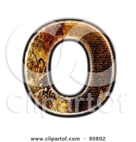 Royalty-Free (RF) Clipart Illustration of a Grunge Texture Symbol; Capitol Letter O by chrisroll