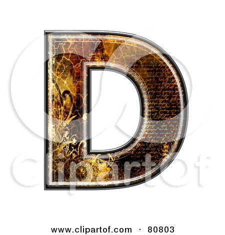 Royalty-Free (RF) Clipart Illustration of a Grunge Texture Symbol; Capitol Letter D by chrisroll