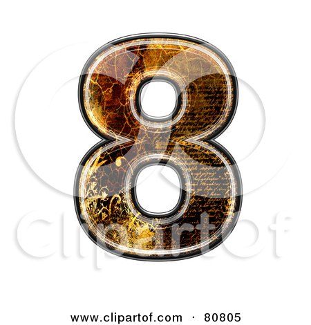 Royalty-Free (RF) Clipart Illustration of a Grunge Texture Symbol; Number 8 by chrisroll