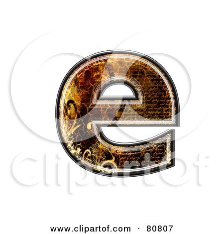 Royalty-Free (RF) Clipart Illustration of a Grunge Texture Symbol; Lowercase Letter e by chrisroll