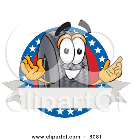 Clipart Picture of a Rubber Tire Mascot Cartoon Character With Stars and a Blank Label by Toons4Biz