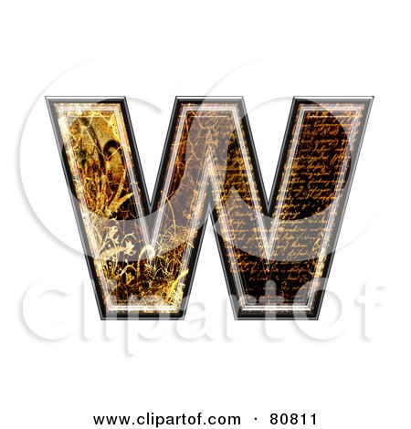 Royalty-Free (RF) Clipart Illustration of a Grunge Texture Symbol; Lowercase Letter w by chrisroll