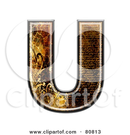 Royalty-Free (RF) Clipart Illustration of a Grunge Texture Symbol; Capitol Letter U by chrisroll
