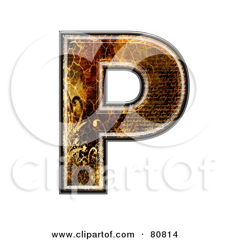 Royalty-Free (RF) Clipart Illustration of a Grunge Texture Symbol; Capitol Letter P by chrisroll