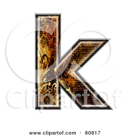 Royalty-Free (RF) Clipart Illustration of a Grunge Texture Symbol; Lowercase Letter k by chrisroll
