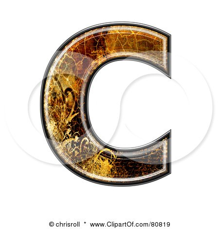 Royalty-Free (RF) Clipart Illustration of a Grunge Texture Symbol; Capitol Letter C by chrisroll