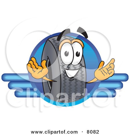 Clipart Picture of a Rubber Tire Mascot Cartoon Character Logo by Toons4Biz