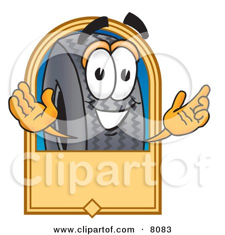 Clipart Picture of a Rubber Tire Mascot Cartoon Character With a Blank Tan Label by Toons4Biz
