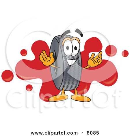 Clipart Picture of a Rubber Tire Mascot Cartoon Character With a Red Paint Splatter by Toons4Biz