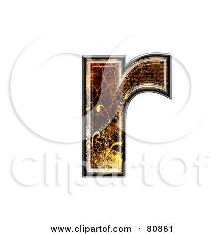 Royalty-Free (RF) Clipart Illustration of a Grunge Texture Symbol; Lowercase Letter r by chrisroll