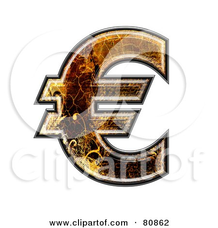 Royalty-Free (RF) Clipart Illustration of a Grunge Texture Symbol; Euro by chrisroll