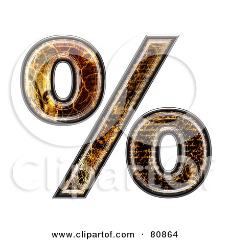 Royalty-Free (RF) Clipart Illustration of a Grunge Texture Symbol; Percent by chrisroll